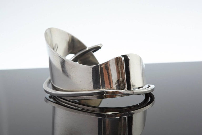 Modernist Sterling Silver Cuff Designed by Ed Wiener, 1950s In Good Condition For Sale In Westport, CT