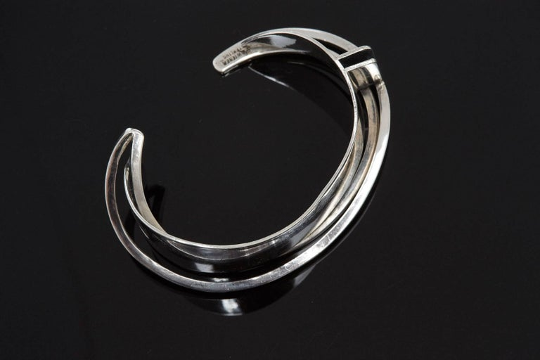Modernist Sterling Silver Cuff Designed by Ed Wiener, 1950s For Sale 2