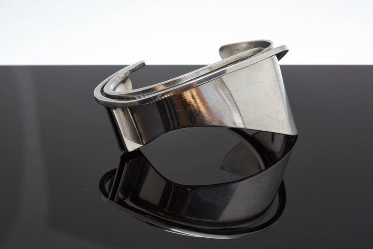 Exceptional and rare modernist sterling silver cuff designed by Ed Wiener in the 1950s.  Stamped 'Ed Wiener Sterling' Opening Gap 1.25 inch.