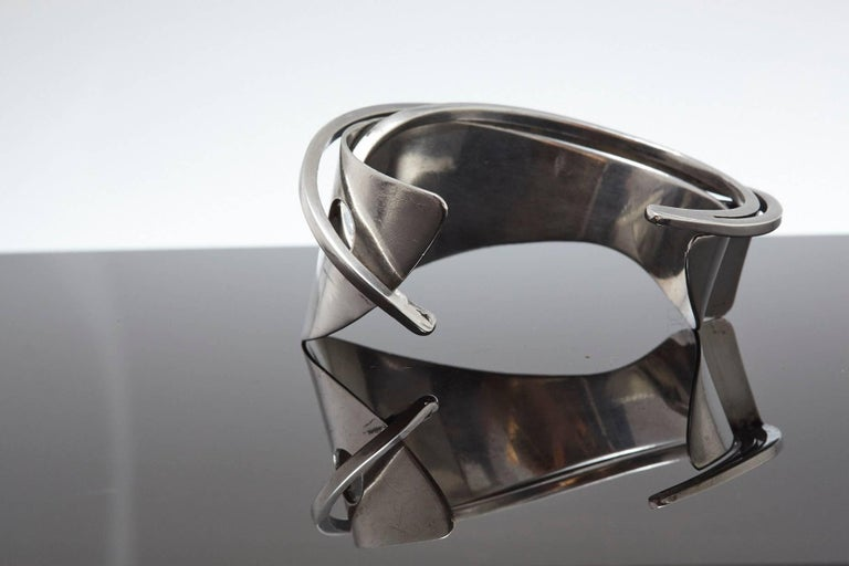 Mid-Century Modern Modernist Sterling Silver Cuff Designed by Ed Wiener, 1950s For Sale