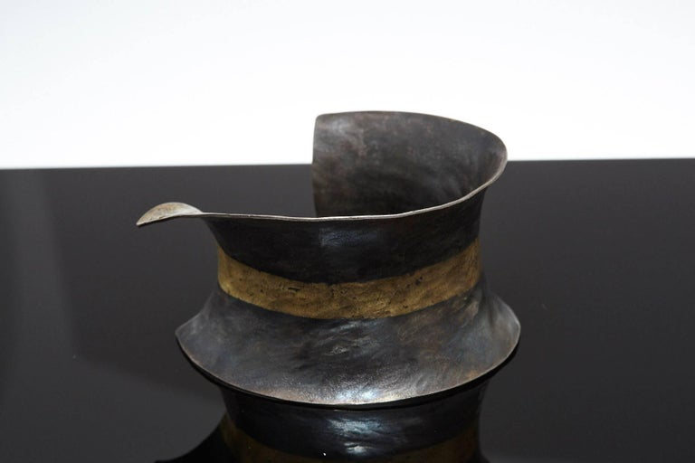 Contemporary Pat Flynn Hand-Forged Blackened Iron and Gold Cuff For Sale