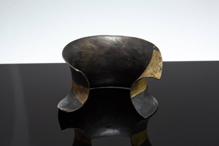Pat Flynn Hand-Forged Blackened Iron and Gold Cuff For Sale 1