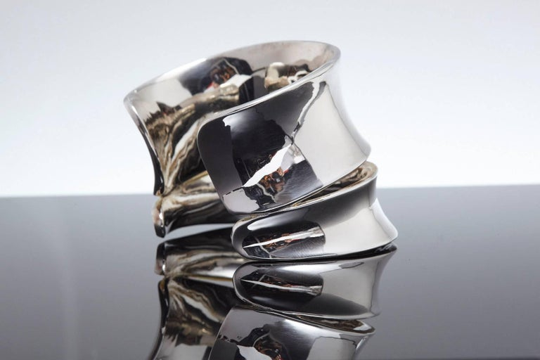American Robert Lee Morris Sculptural Silver Cuff For Sale