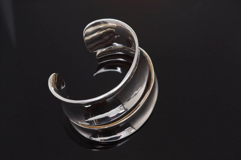 Robert Lee Morris Sculptural Silver Cuff For Sale 1