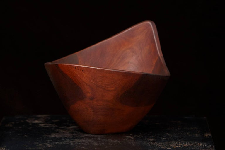 Mid-Century Modern Signed M. Maury Turned Teak Bowl For Sale