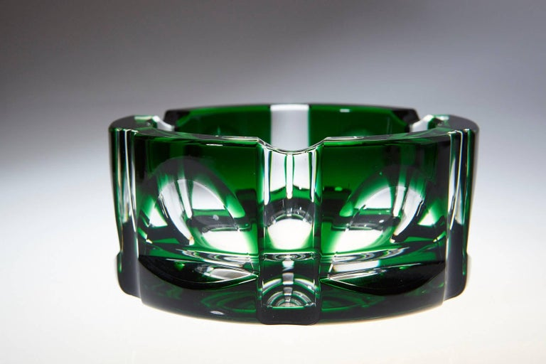 Beautiful, very heavy, hexagonal emerald green crystal ashtray in very good condition.