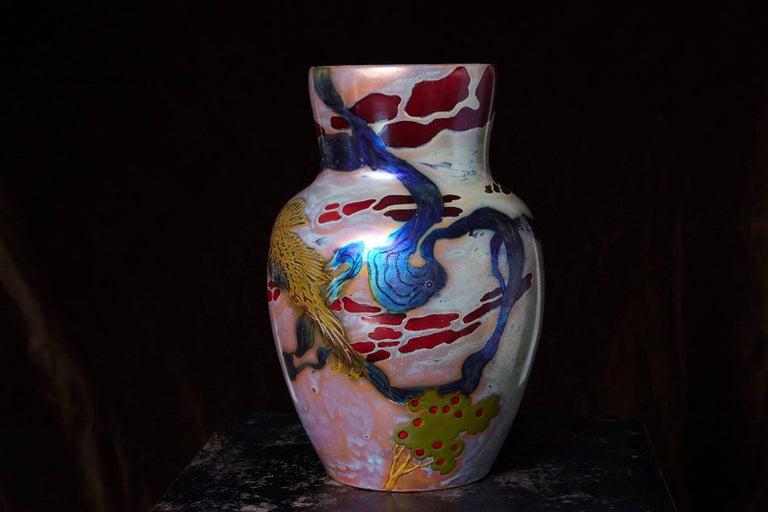 Art Nouveau Hungarian Ceramic Eosin Glaze Vase, Landscape with Hawk by Zsolnay, circa 1900 For Sale