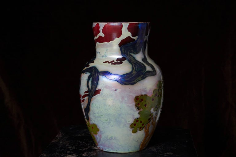 Hungarian Ceramic Eosin Glaze Vase, Landscape with Hawk by Zsolnay, circa 1900 In Excellent Condition For Sale In Westport, CT