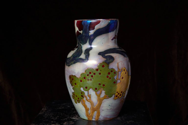 Early 20th Century Hungarian Ceramic Eosin Glaze Vase, Landscape with Hawk by Zsolnay, circa 1900 For Sale