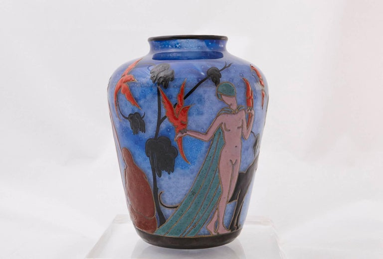 Art Deco Marcel Goupy Enameled Glass Vase Showing Three Nude Women, circa 1925 For Sale