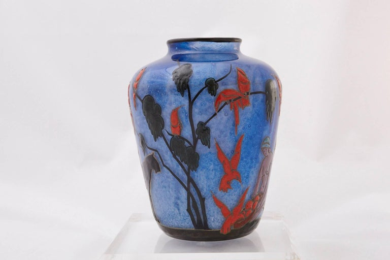 French Marcel Goupy Enameled Glass Vase Showing Three Nude Women, circa 1925 For Sale