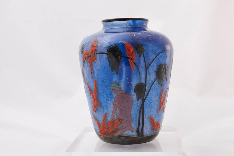 Marcel Goupy Enameled Glass Vase Showing Three Nude Women, circa 1925 In Excellent Condition For Sale In Weston, CT