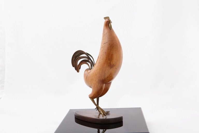 Streamlined Moderne Bronze and Walnut Rooster Sculpture by Karl Hagenauer For Sale