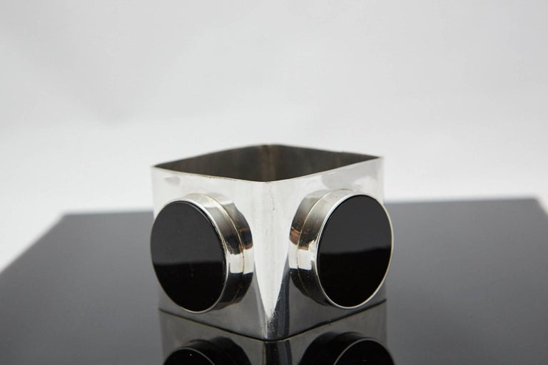 Large Square Silver Bangle with Three Circular Onyx Stones, circa 1970s In Good Condition For Sale In Westport, CT