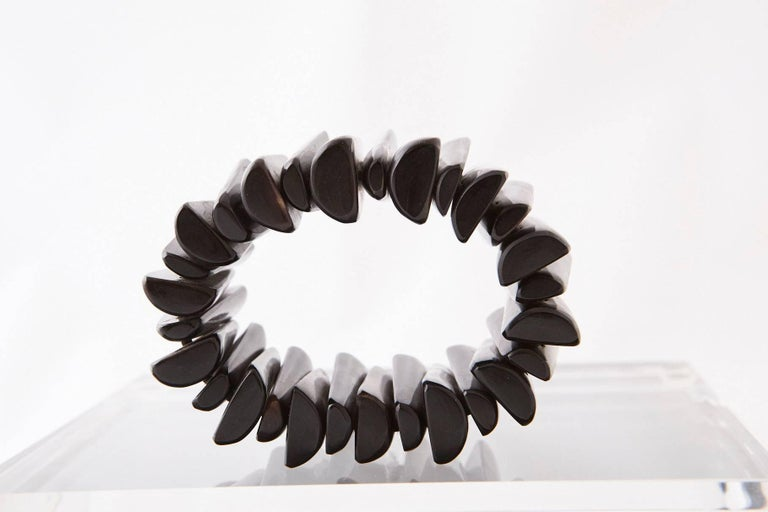 Modern Hand-Carved Ebony Bracelet, circa 1970s In Good Condition For Sale In Weston, CT