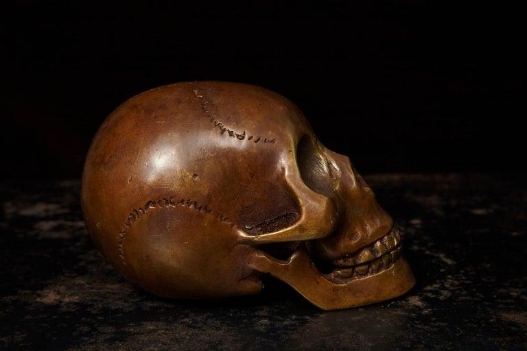 Memento Mori Bronze Statue of a Human Skull For Sale 1