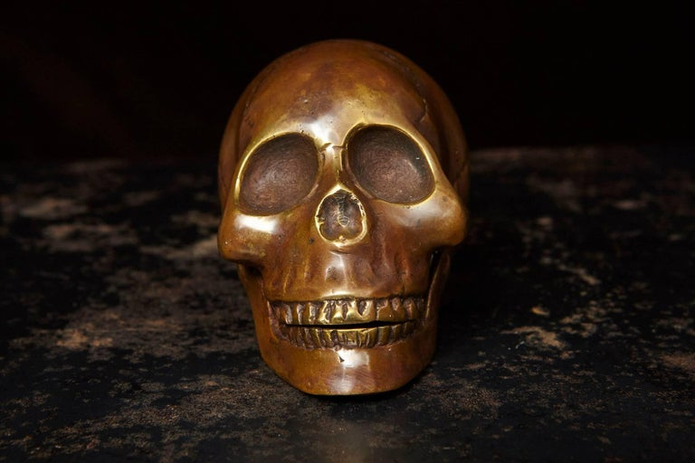 Memento Mori Bronze Statue of a Human Skull In Excellent Condition For Sale In Weston, CT