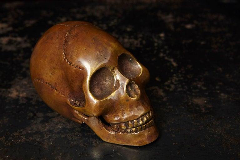 American Memento Mori Bronze Statue of a Human Skull For Sale