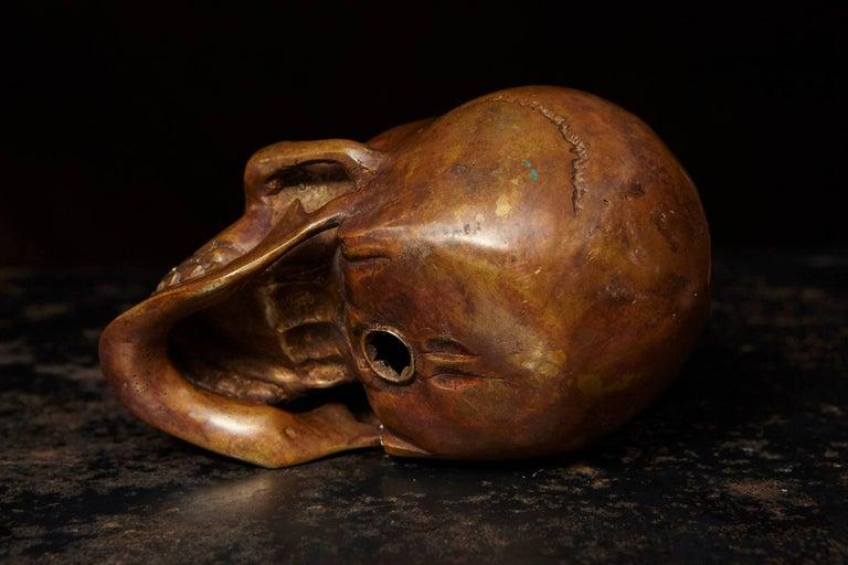 Memento Mori Bronze Statue of a Human Skull For Sale 3