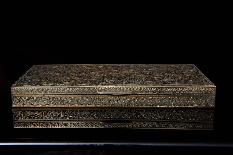 Antique Persian Solid Brass and Cedar Lined Box, circa 1920s, Persia In Good Condition For Sale In Westport, CT
