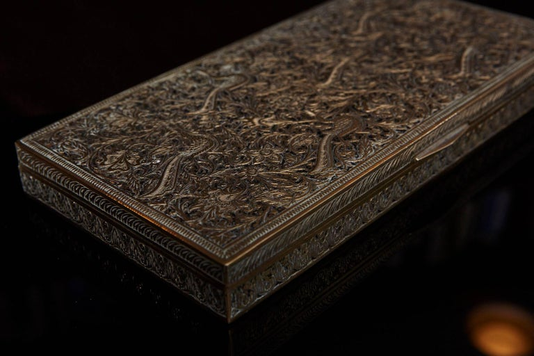 Early 20th Century Antique Persian Solid Brass and Cedar Lined Box, circa 1920s, Persia For Sale