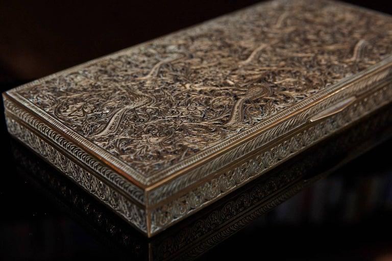 Antique Persian Solid Brass and Cedar Lined Box, circa 1920s, Persia For Sale 1