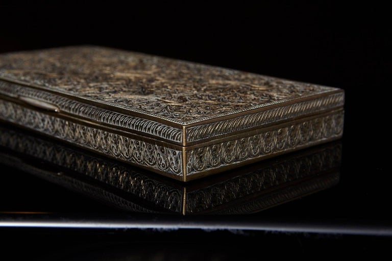 Antique Persian Solid Brass and Cedar Lined Box, circa 1920s, Persia For Sale 3