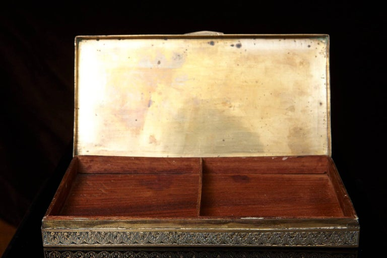 Antique Persian Solid Brass and Cedar Lined Box, circa 1920s, Persia For Sale 4