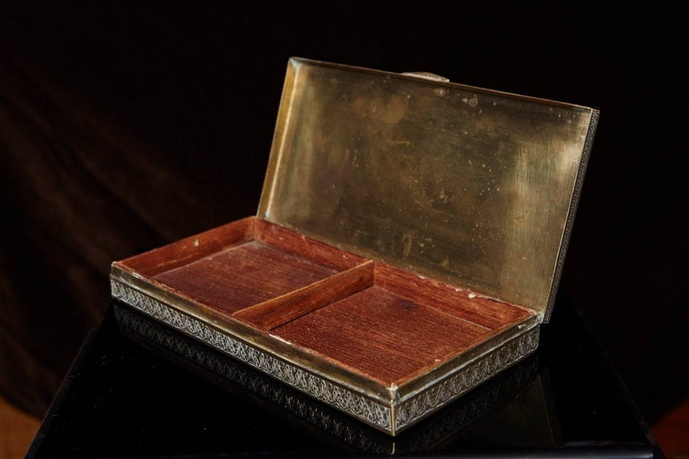 Antique Persian Solid Brass and Cedar Lined Box, circa 1920s, Persia For Sale 5