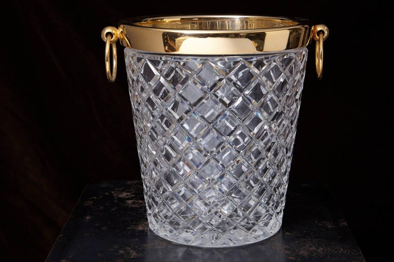 Belgian Crystal and Brass Ice Bucket, Saks Fifth Avenue's Guest and Gift, 1950s 3