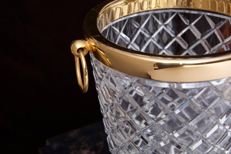 Belgian Crystal and Brass Ice Bucket, Saks Fifth Avenue's Guest and Gift, 1950s 7