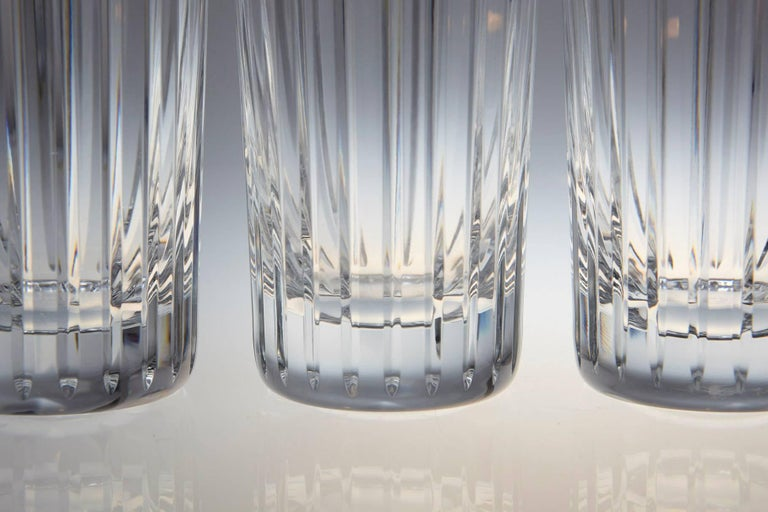 The timeless and very graphic Baccarat Harmonie bar pattern was introduced in 1975 and is until today Baccarats top selling bar pattern of all time. Consecutive vertical cuts from the top of the rim to the base emphasize the vertical graphical