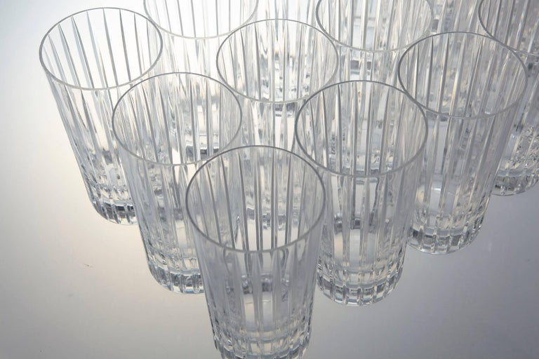 French Set of 14 Baccarat Harmonie Crystal Highball Glasses For Sale