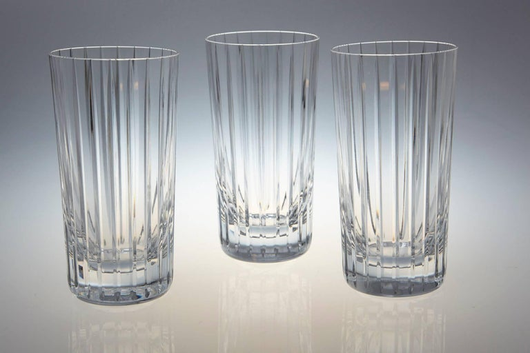 Late 20th Century Set of 14 Baccarat Harmonie Crystal Highball Glasses For Sale