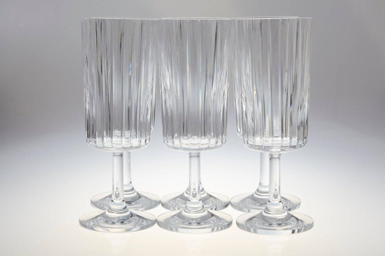 French Rare Set of Six Baccarat Harmonie Crystal Water Goblets For Sale