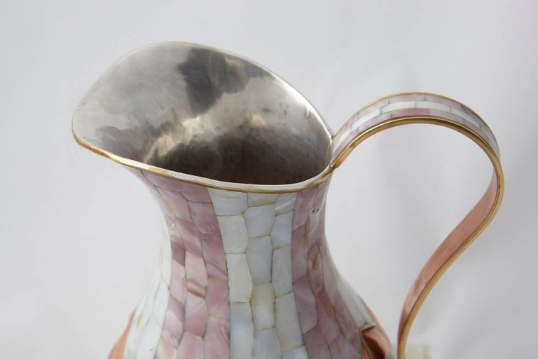 Los Castillo Taxco Hammered Brass and Silver Plate Pitcher with Abalone Inlays For Sale 1