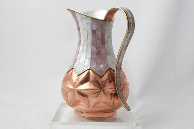 Los Castillo Taxco Hammered Brass and Silver Plate Pitcher with Abalone Inlays 5