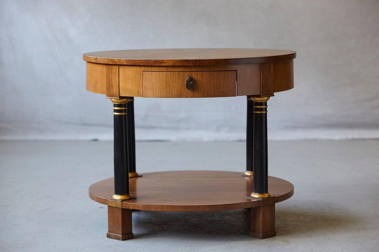 American Empire Style Walnut Side Table by Baker Furniture For Sale