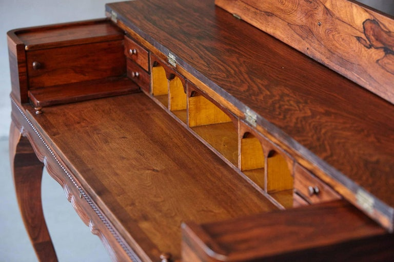 Early 20th Century Queen Anne Style Rosewood Spinet Desk For Sale 6
