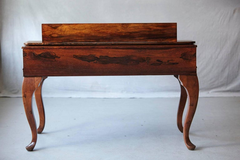 Early 20th Century Queen Anne Style Rosewood Spinet Desk For Sale 1