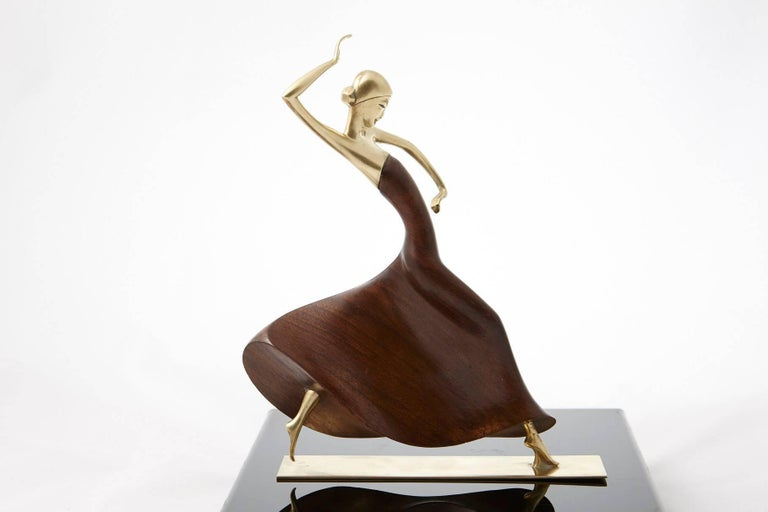 Karl Hagenauer Female Dancer Brass and Walnut Statue For Sale 1