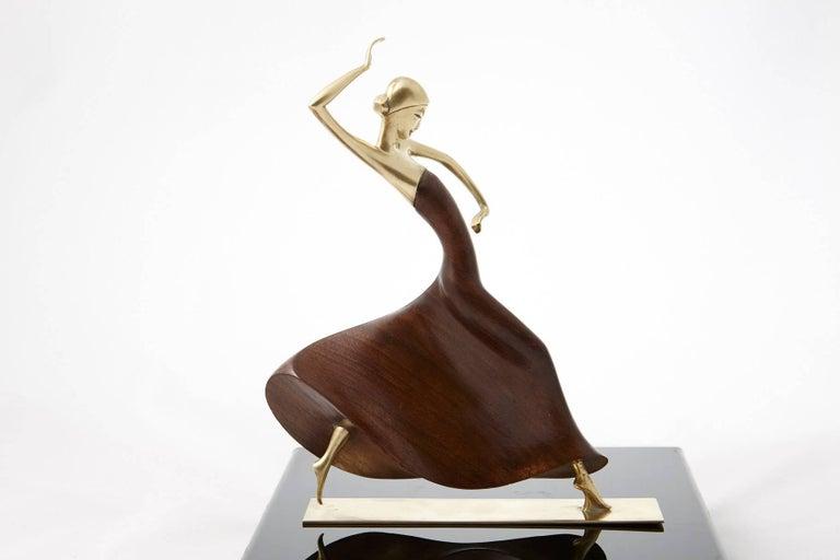 Karl Hagenauer Female Dancer Brass and Walnut Statue 7