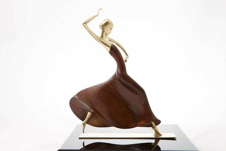 Karl Hagenauer Female Dancer Brass and Walnut Statue 2