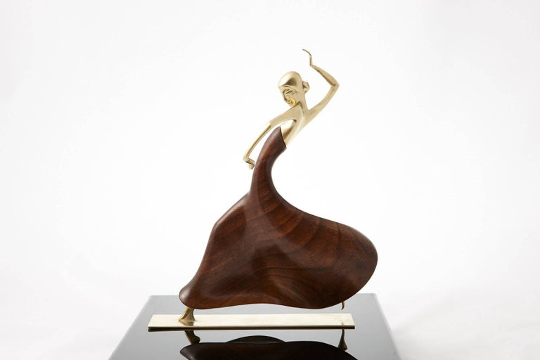 Mid-20th Century Karl Hagenauer Female Dancer Brass and Walnut Statue For Sale