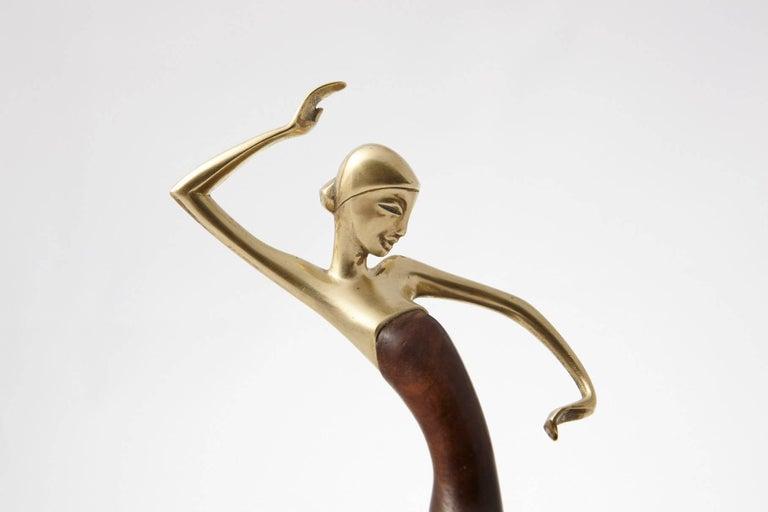 Karl Hagenauer Female Dancer Brass and Walnut Statue In Excellent Condition For Sale In Weston, CT