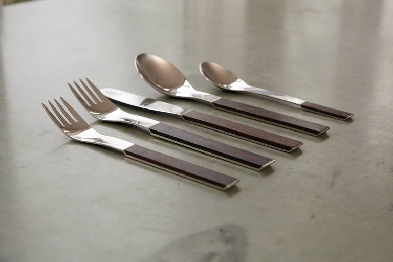 Mid-Century Modern Rosewood Flatware Service for 12 by Carl Auböck for Rosenthal For Sale
