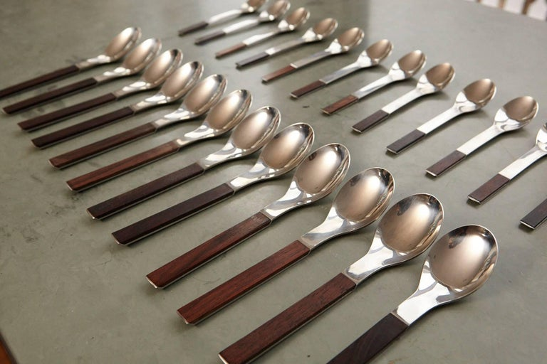 Stainless Steel Rosewood Flatware Service for 12 by Carl Auböck for Rosenthal For Sale