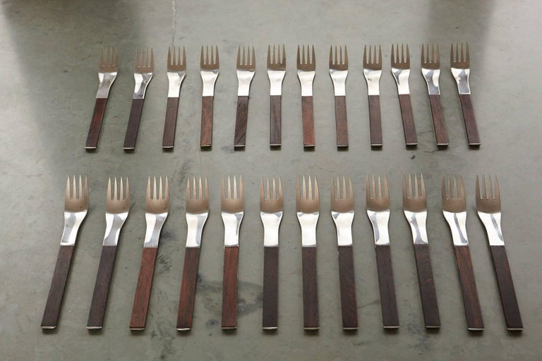 Rosewood Flatware Service for 12 by Carl Auböck for Rosenthal For Sale 1