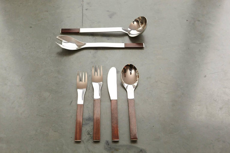 Rosewood Flatware Service for 12 by Carl Auböck for Rosenthal For Sale 3