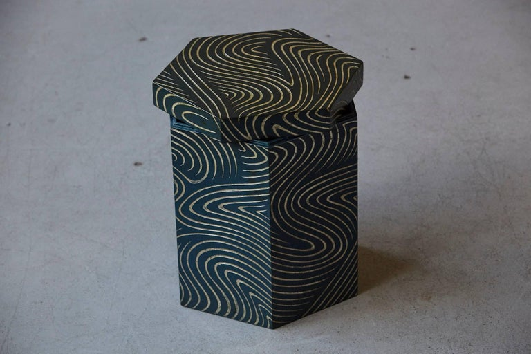 American Hexagonal Dark Blue Box with Carved Gilded Graphic Pattern For Sale